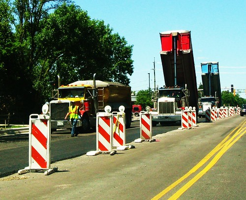 Road construction on Greenwood Road.  Glenview Illinois USA. June 2011. by Eddie from Chicago