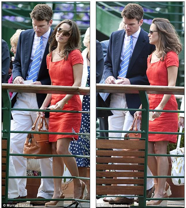 Pippa Middleton ends speculation of a break-up as she and boyfriend Alex Loudon arrive at Wimbledon  2