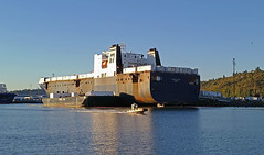 Truck riding off TOTE ship (Liz Satter) Tags: tacoma portoftacoma portoftacomaboattour seascouts tacomawaterfrontassociation tote roro