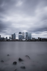 Towers of Power - Docklands (AlistairBeavis) Tags: alistairbeavis alistairbeaviscom river thames docklands canarywharf canon24105 ndfilter water longexposure clouds hss