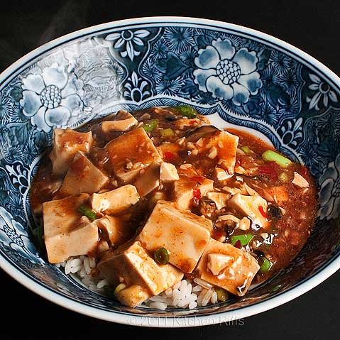 Mapo Tofu with rice in noodle bowl