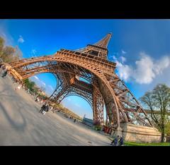 A (AO-photos) Tags: paris architecture giant nikon eiffeltower bluesky fisheye toureiffel 8mm hdr architectura samyang a d300s
