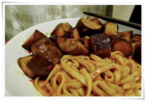 Stir-fry Brinjal on Noodles