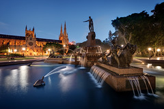 JF Archibald Memorial Fountain (Xenedis) Tags: archibaldfountain bluehour cathedral dusk evening fountain hydepark jfarchibaldmemorialfountain night park stmaryscathedral sydney twilight water newsouthwales nsw australia architecture