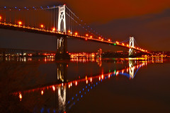 Celebrate Life - in explore (SunnyDazzled) Tags: bridge blue red newyork night clouds reflections river gold lights early spring amazing cityscape poughkeepsie hudson mid fdr