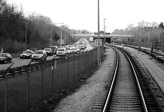 Evening Traffic / Southbound Spadina (MrDanMofo) Tags: blackandwhite toronto subway highway traffic ttc expressway congestion torontotransitcommission allenexpressway yongeuniversityspadina wrallen mrdanmofo