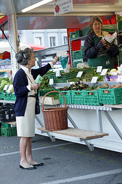 swiss woman at market