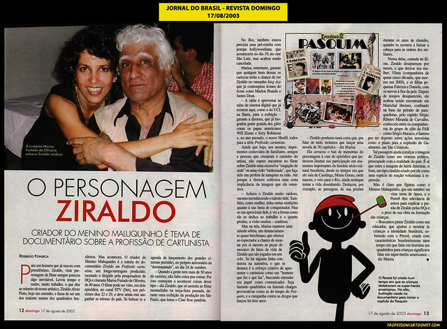 """""""O personagem Ziraldo"""" - Jornal do Brasil - 17/08/2003"""
