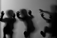 Luminescent Beings (raisinsawdust - (aka: tennphoto)) Tags: bw playing feet glass kids hands nikon shadows tennessee opaque figures 2011 d90 nikond90