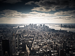 new york new york - so much to see from up above (pamela ross) Tags: nyc sky usa cloud newyork building skyline night america pen view unitedstates cloudy horizon olympus hudson statueofliberty flatironbuilding ep1 17mm mft