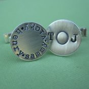 Hand Stamped Sterling Silver Cufflinks  -Also Available in 14kGold Fill-