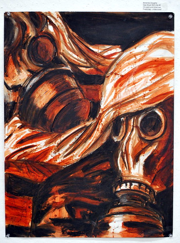 Gas Mask Still Life #3 in Oil Paint & Charcoal by Amanda