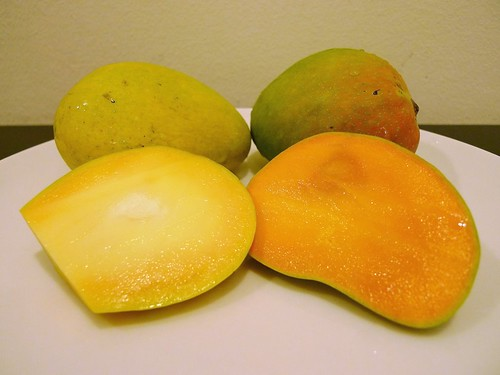 From left: Banganapalli Mangoes and Alphonso Mangoes