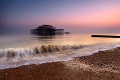 West Pier at sunset, Brighton, UK