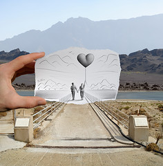 4 - Pencil Vs Camera for Art Official Concept (Ben Heine) Tags: life road uk wedding england mountain art history love montagne river paper freedom volcano sketch vanishingpoint couple poem shine hand heart sweet path walk dam mixedmedia live duo country balloon creative free happiness evolution coeur lovers adventure story beginning diana together amour sing beat photoediting imagination series behind concept wish satisfaction mariage departure discovery bonheur barrage roadblock princewilliam départ barricade derrière saintvalentine capeverde postprocessing capvert theartistery dukeofcambridge petersquinn katemiddleton benheine letlovebloom verdecap pencilvscamera williamarthurphiliplouis selectivedrawing