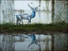 Pixelpancho - At the Water Hole (Romany WG) Tags: milan abandoned buildings graffiti robot stag industrial fabrik deer derelict urbex robotic pixelpancho