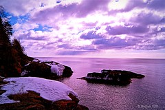 Purple Waters Majesty (Doug Wallick) Tags: sun lake snow cold water minnesota clouds rocks ripple infinity great north superior shore picnik rugged lightroom a230 tofte mygearandme mygearandmepremium mygearandmebronze brushrays