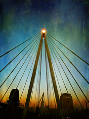 The Hungerford footbridge at sunset .. London