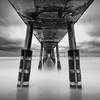 False Shelter (~ superboo ~ [busy busy]) Tags: ocean longexposure bw concrete pier fishing waves moody pacific cloudy tide low lee drama pacifica sheltered silverefexpro bigstopper