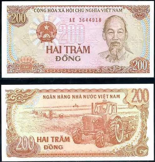 200 Dong Vietnam 1987, P100