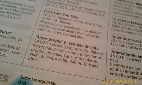 Señales de Vida y AMOR PROPIO; recorte Prensa by LaVisitaComunicacion