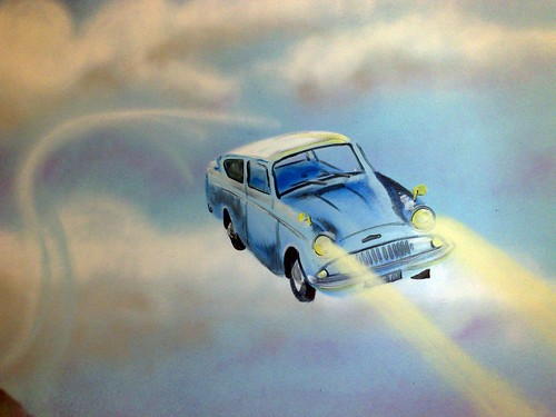Harry Potters flying car mural