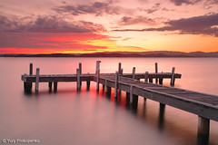 Squids Ink Jetty (-yury-) Tags: longexposure sunset sky cloud lake beach nature water canon landscape pier belmont jetty australia nsw 5d centralcoast lakemacquarie squidsink
