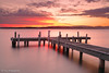 Squids Ink Jetty (-yury-) Tags: longexposure sunset sky cloud lake beach nature water canon landscape pier belmont jetty australia nsw 5d centralcoast lakemacquarie squidsink