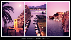 Palaio Frourio, Greece (zapisol) Tags: pink moon castle water night boats island evening town purple harbour greece late fortress curfu