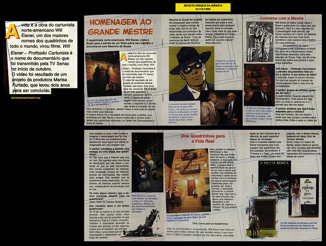 """""""Homenagem ao grande mestre"""" - Revista Parque da Mônica - 01/12/1999"""