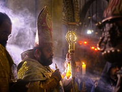 blessing the bishop (David Mor (sporadic internet connection)) Tags: morning easter candles cross jerusalem religion sigma bishop batton pascha incense liturgy armenian lightray 5014 holysepulchre lighray