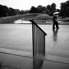Rain, Railings 2 (The Anti-Sharpness League) Tags: angel edinburgh panasonic anthony 20mm gormley gf1 jadmor
