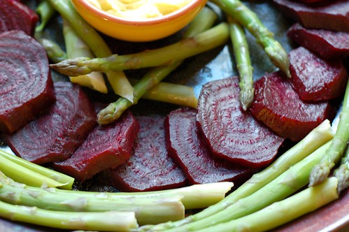 Roasted beets & asparagus with lemon aioli by Eve Fox, Garden of Eating blog, copyright 2011
