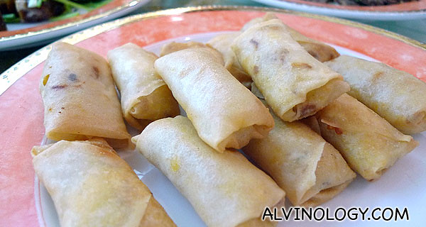"Not your usual fried spring rolls, these comes with ""Tau Suan"" bean fillings"