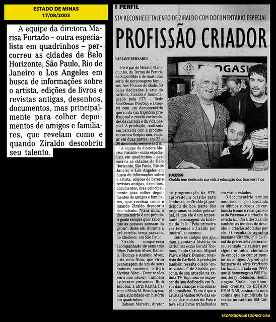 """""""Profissão Criador"""" - Estado de Minas - 17/08/2003"""
