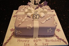 Parcel cake (Victorious_Sponge) Tags: birthday cake square stars purple parcel 80th 70th 60th