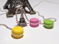French macarons with Eiffel Tower Necklace (Plushable) Tags: pink green tower yellow silver miniature necklace desert sweet jewelry eiffel charm macaroon dangle macaron