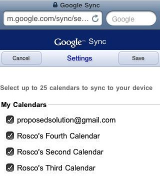 Select Your Calendars From Google Sync