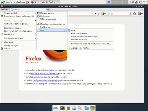 Mozilla Firefox 4.0 sous xfce 4.8.1