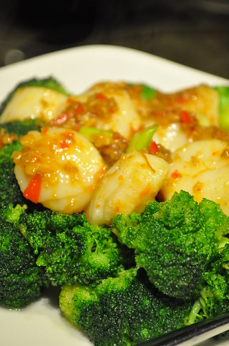 scallops brocolli