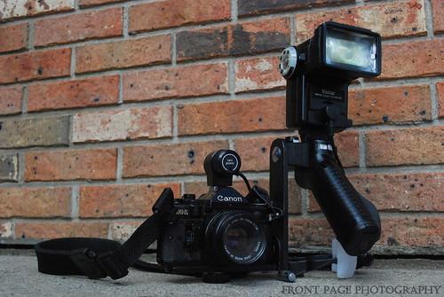 Canon A-1, Vivitar PPG/1 Power Pistol Grip, Vivitar 258HV Zoom Thyristor