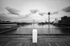 (wecand) Tags: wood longexposure bridge blackandwhite bw tower water architecture river germany photo nikon nd sw brcke dsseldorf holz televisiontower d300 medienhafen schwarzweis wecand gettygermanyq2