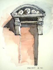 Segmental Pediment (James Anzalone) Tags: blue red urban brown color detail brick architecture illustration pen ink watercolor painting james drawing townhouse parkslope landmark historic line ornament limestone classical gothamist freehand curved vignette rendering anzalone segmental urbansketchers