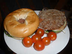 Bagel & rye bread, with cherry tomatoes