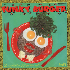 Captain Mustard - Funky Burger b/w Quiet Move (1981) (darklorddisco) Tags: french coverart vinyl 80s record synthpop 45s cosmic picturesleeve funkyburger