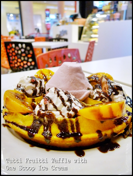 Tutti Fruitti Waffle with One Scoop Ice Cream