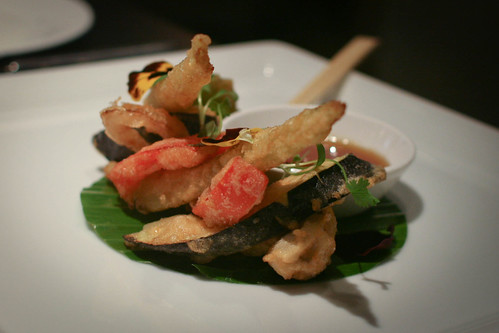 Crisp tempura of vegetables, honey and wasabi