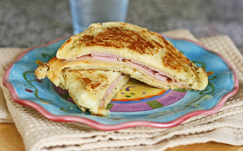 Grilled Cheddar and Ham on an Onion Roll: A Grown-Up Take on Grilled Cheese