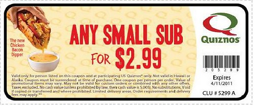 Quiznos Small Sub coupon