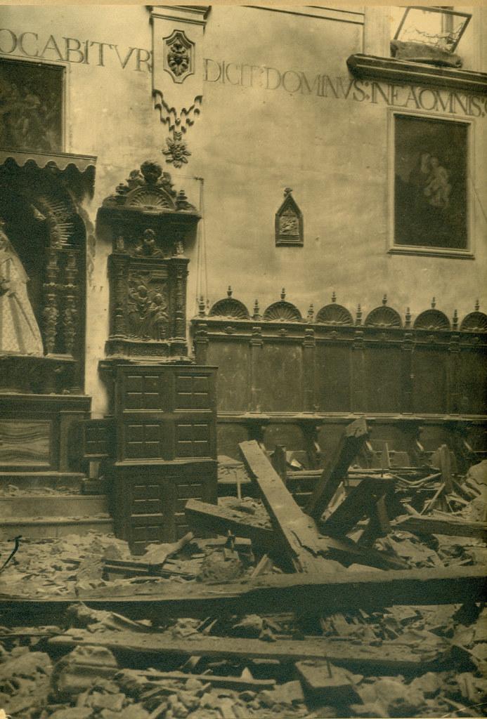 Coro del Convento de San Clemente destruido en la Guerra Civil. Fotografía de Pelayo Mas Castañeda. Causa de los mártires de la persecución religiosa en Toledo